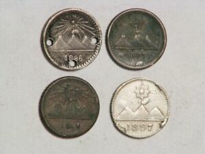 GUATEMALA 1886/1888/1893/1897 1/4 Real Silver - Lot of 4 Coins