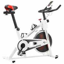 vidaXL Spinningfiets met Hartslagsensoren Wit en Rood Trainingsfiets Spinning