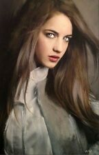 "SUPERB WILLIAM OXER ORIGINAL CANVAS ""Lover"" girl woman lady  PAINTING"