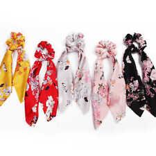 Satin Ponytail Scarf Hair Rope Ties Scrunchies Ribbon Band Flower 002