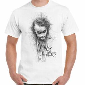 Joker T-Shirt, Mens Batman Heath Ledger Sketch Superhero Villain Unisex Top