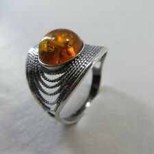 Size 7.5 (EU Size 56) Size 7 1/2 Cognac / Brown BALTIC AMBER Ring SILVER #2181