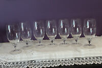 SET OF 7 BELFOR BOHEMIA CRYSTAL FOOTED ICED TEA GLASSES - BLACK CORE STEM