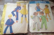 Lot 2 Vintage 1971 Simplicity 9290 and McCall's 2783 Child Sewing Pattern poncho