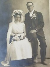 Wedding Day Formal Photo Groom w Dirty Shoes Bride Boots Large Hat early 1900's