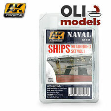 NAVAL SHIPS Weathering Set Vol.1 Enamel 3x35 ml - AK Interactive 555