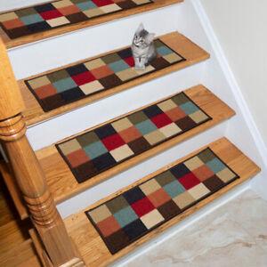 Ottomanson Stair Tread Rug Carpet Multicolor Floor 9 x 26 Inch Rubber Back 7 Set