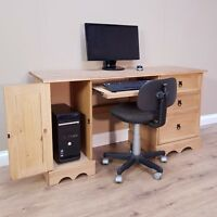 Corona Straight Computer Desk Solid Mexican Pine Discount by Mercers Furniture®