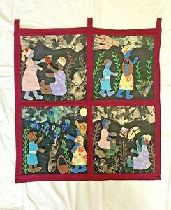 African Weya Art Applique Quilt Wall Hanging Story Cloth by O. Mungure 24x22