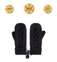Ladies Womens Lady Ultra Soft Womens Knit Warm Winter Driving Mittens Black