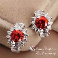 18K White Gold Plated Channel-Set Baguette Diamond Flower Ruby Stud Earrings