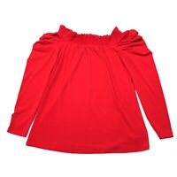 Michael Kors Off The Shoulder Peasant Top Red Blouse Shirt Women's Size XS