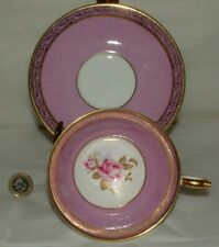 AYNSLEY PINK ROSE TEA CUP AND SAUCER GOLD TRIM