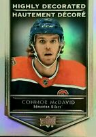 """2019-20 UD TIM HORTONS """"HIGHLY DECORATED"""" HD-15 CONNOR MCDAVID INSERT CARD MINT!"""