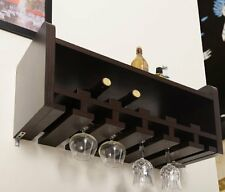 NEW Furniture of America Venire Wall Mounted Wine Rack and Glass Holder Walnut