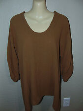 OMG! Oh My Gauze Top  Brown Lagenlook Asymmetrical Hem 3/4 Sleeve Size 1 (S-M)