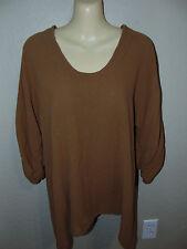 OMG! Oh My Gauze Top  Brown Lagenlook Asymmetrical Hem 3/4 Sleeve Size 1 (S-M)