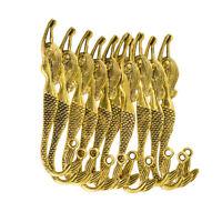 10pcs signets de sirène ondulés avec perles en métal doré avec boucle