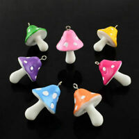 10pcs Mixed Color Resin Mushroom Pendants DIY Jewelry Making Charms 34x22x22mm