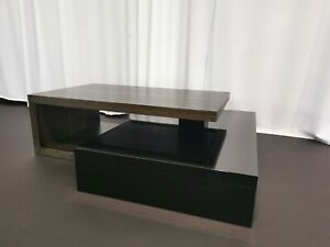 NATUZZI ITALIA COFFEE TABLE Two-Tier Wood Black Gloss EXCELLENT CONDITION