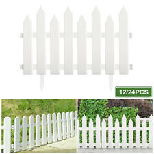 12/24x Garden Plastic Fence Panels Outdoor Protective Guard Edging Decor Fencing