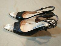Manolo Blahnik Womens Leather snakeskin Cap SlingBack Heel Shoes Size 36.5 Us 6