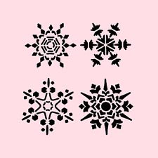 4 SNOWFLAKES STENCIL FLURRIES STENCILS TEMPLATE CRAFT PAINT NEW by STENSOURCE