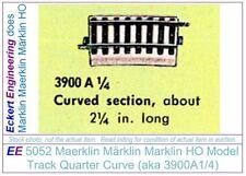 EE 5052 EXC Marklin HO Curve Model Track 3900A1/4 in EXC Condition, 8 Ties