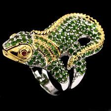 Jumbo Ring Leguan Chromdiopsid Rubin 925 Silber vergoldet Ø 18.1 mm