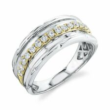 Mens 14K Two Tone Gold Diamond Wedding Band Ring Round Cut Natural Size 10