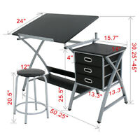 MDF Top Drafting Craft Table Station Drawing Desk Art Work Artist Drawer W/Stool