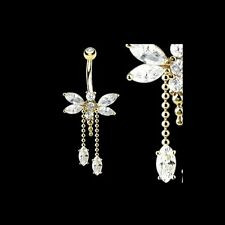 14K Solid GOLD BELLY Button NAVEL Bar RING Piercing Jewelry *Clear CZ DRAGONFLY