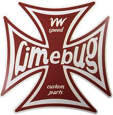 "Limebug VW 4"" Iron Cross Sticker Decal Die Cut Beetle Bus Bay Split Camper T1 T2"