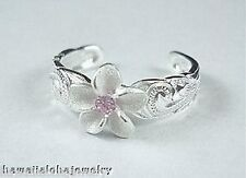 Plumeria Pink Cz Heritage Toe Ring 9mm Solid 925 Sterling Silver Matted Hawaiian