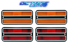 68-72 Chevy GMC Truck Front Amber & Rear Red Side Marker Light Lamps Set of 4