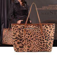 Women New Leopard Grains Fashion Prints PU Leather Handbag Tote Bag Purse ED