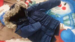 AUTUMN WINTER REBEL NAVY BLUE BOY FAUX FUR HOODIE Jacket 3-4 YRS