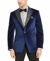 Tallia Mens Blazer Navy Blue Size Small S Velvet Single-Button Notched $350 #164