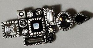 Patricia Locke Pin Brooch Silver Tone Clear & Black Swarovski Crystals