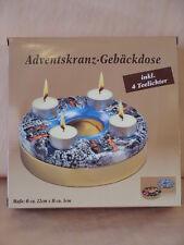 sehr schöne Adventskranz Gebäckdose, incl. 4 Teelichter, 22cm, neu