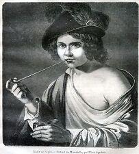 Masaniello. Rivoluzione Napoletana 1647.Napoli.Stampa Antica + Passepartout.1849