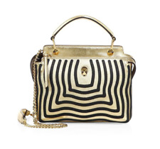 Fendi Dotcom Click Striped Leather Hypnotic Chain Crossbody Satchel, MSRP $3,450