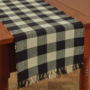 Wicklow Black Tan Check Woven Cotton Country Farmhouse Table Runner