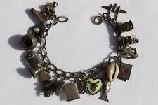 Sterling Silver Charm Bracelet with 19 Charms Collection Lot Articulated, Enamel