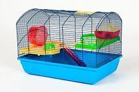 Mäusekäfig Hamsterkäfig Nagerkäfig 59x36x43 cm blau mit Zubehör