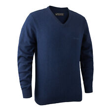 Deerhunter Brighton Knit V Neck Jumper Sweater Blue Country Hunting Shooting