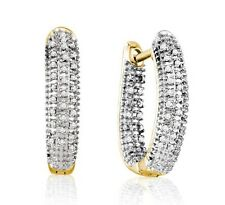 Sterling Silver White Diamond Hoop Earrings .22ct Yellow Gold Plated Hoops