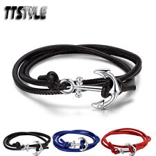TTstyle 3 Row Leather 316L Stainless Steel Anchors Wristband 3 Colors NEW