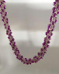 Kumihimo Necklace Fuchsia Glass Seed Beads