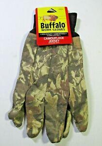 Buffalo Camo Jersey Work Gloves w/ Lining. 55% Ramie & 45% Cotton. 2 pack T-54